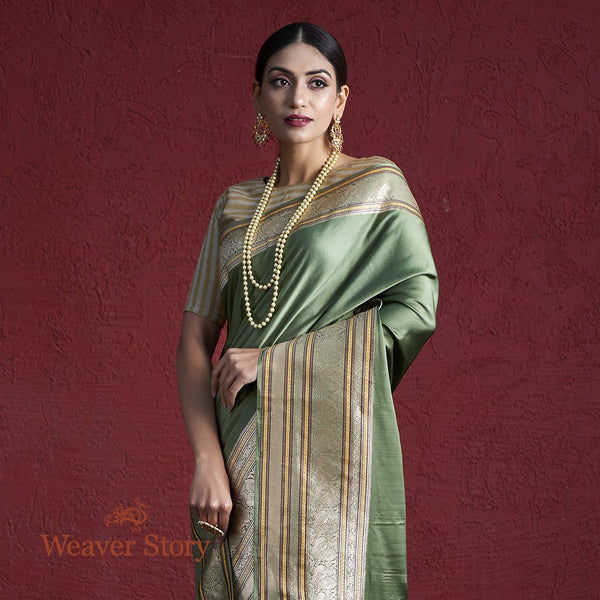Handwoven Sage Green Satin Saree with Heavy Border