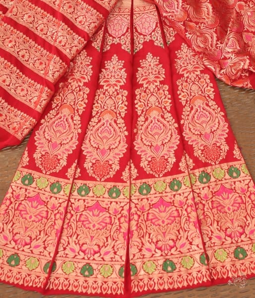 Handwoven Red Banarasi Lehenga In Pure Gorgette With Meenakari.