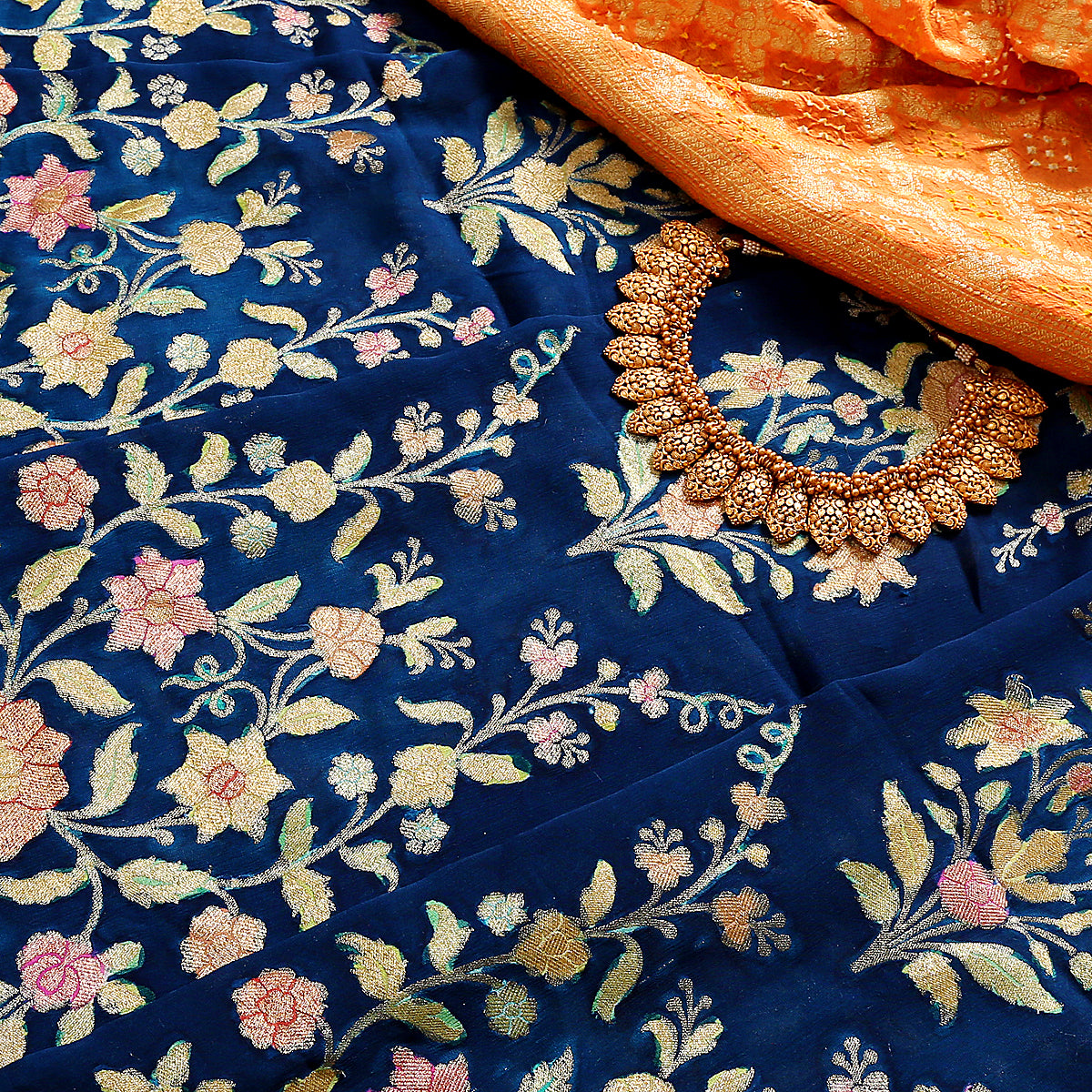 Handwoven Navy Blue banarasi georgette meenakari Lehenga with hand brush painting