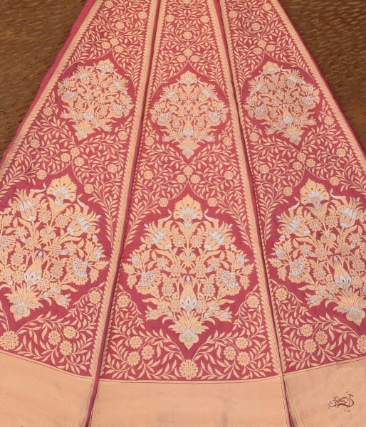 Handwoven Wine Banarasi Lehenga With Meenakari