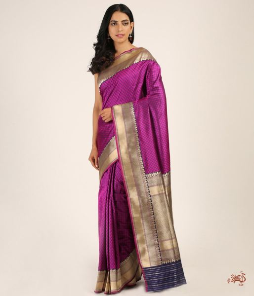Handwoven Tanchoi Saree In A Purple And Navy Blue Thread Saree