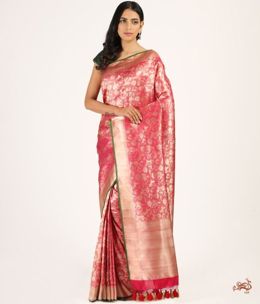 Pink And Gold Handwoven Shikargah Saree Saree