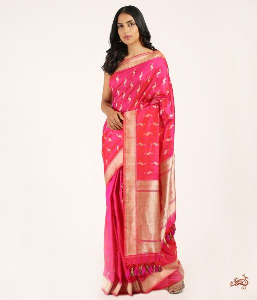 Pink Pure Katan Silk Saree With Bird Motifs Saree
