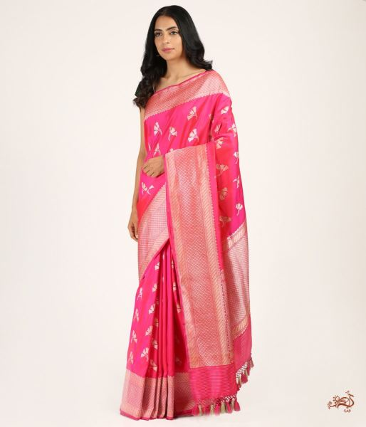 Handwoven Kadhwa Banarsi Saree With Flower Petal Motifs Saree