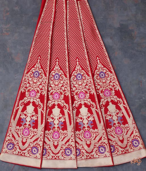 Handwoven Banarasi Shikargah Lehenga In Red With Meenakari