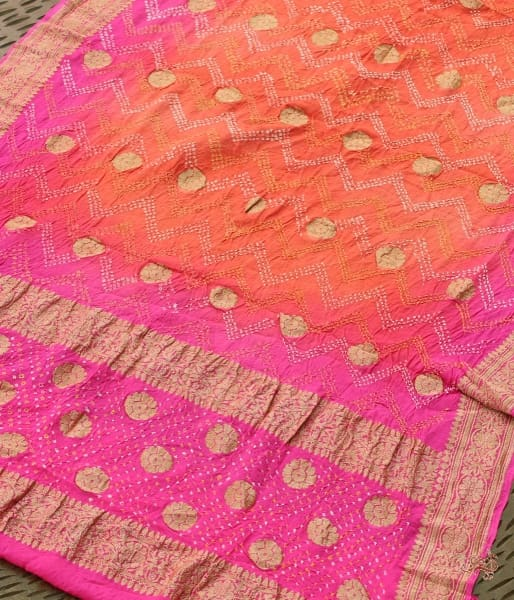 Handwoven Banarasi Bandhej Dupatta In A Beautiful Ombre Peach And Pink