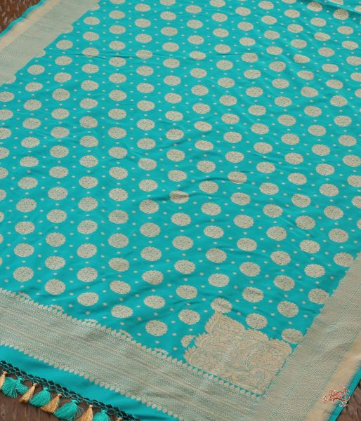 Turquoise Blue Katan Silk Dupatta With Traditional Motifs Dupatta