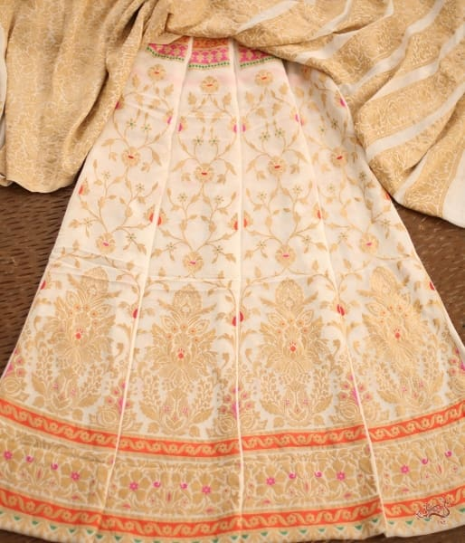 Handwoven Banarasi Lehenga In Pure Gorgette With Meenakari Orange And Gold