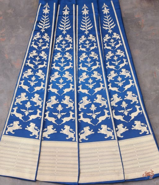 Handwoven Banarasi Shikargah Lehenga In Royal Blue