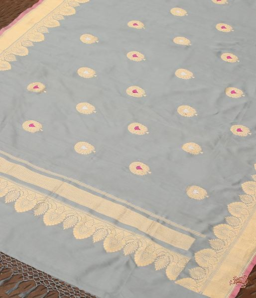 Grey Katan Silk Dupatta With Pankhi Booti And Meenakari Dupatta