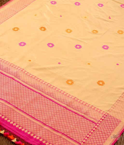 Beige Katan Silk Dupatta With A Pink Border Dupatta