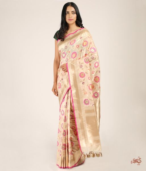 Cream And Gold Cutwork Meenakari Jangla Saree