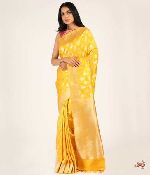 Handwoven Pure Katan Silk Saree With Traditional Booti Saree
