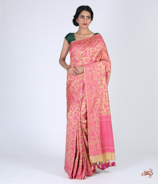 Handwoven Banarasi Shikargah Saree In Beige And Pink