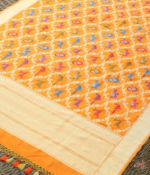Handwoven Kadhwa Shikargah Dupatta In Orange Color With Meenakari Dupatta
