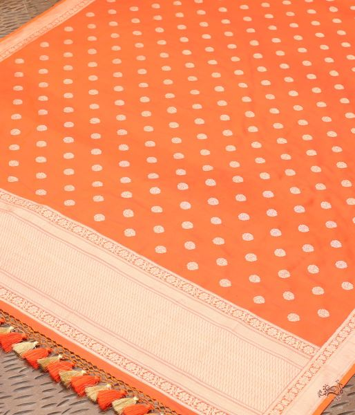 Orange Katan Silk Dupatta With Kadhwa Asharfi Booti Dupatta
