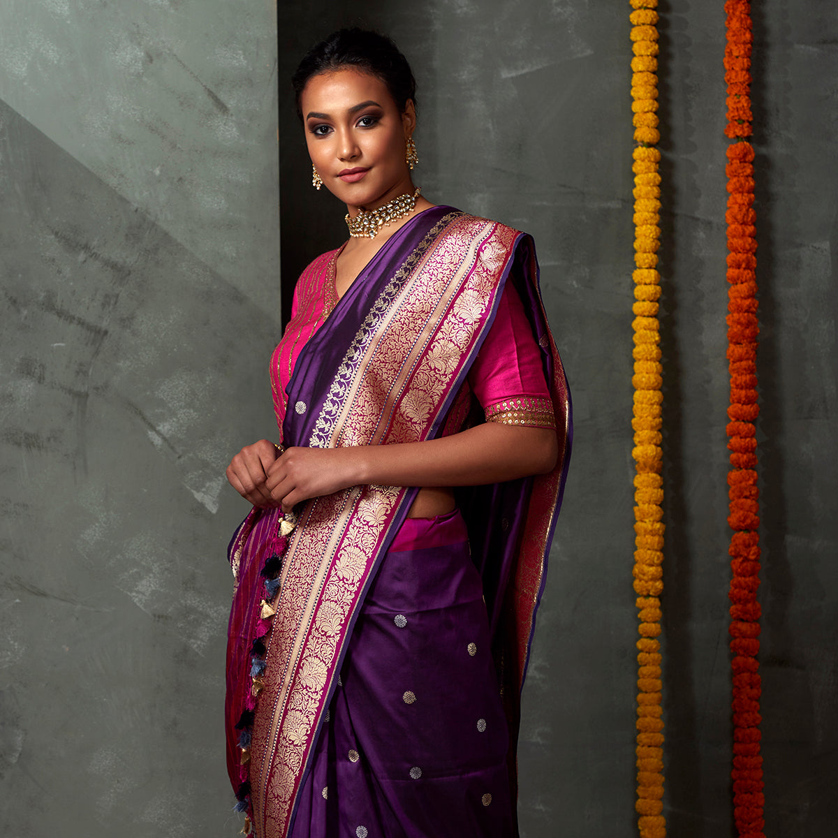 Handwoven Purple Kadhwa Booti Saree with Pink Border