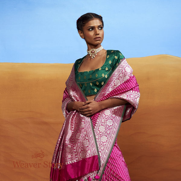 Handwoven Pink Plain Saree with Silver Zari Stripes and Green Selvedge