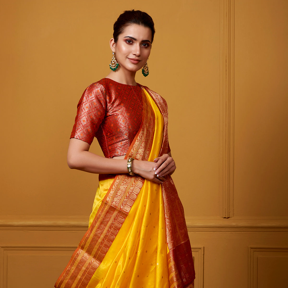 63a235382c55ec Handwoven Yellow and Red chanderi silk saree with intricate ek naliya -  WeaverStory
