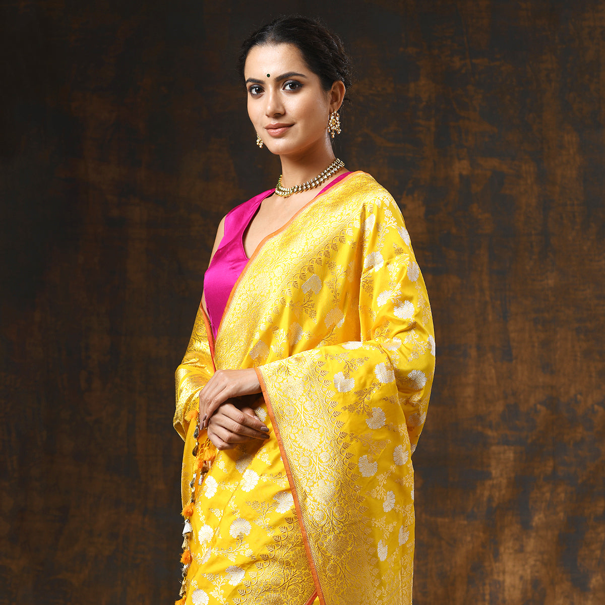 Handwoven Yellow Banarasi Jangla with Sona Rupa Zari