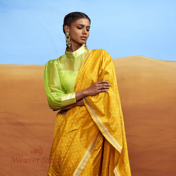 Handwoven Mustard Booti Saree with Konia and Heavy Blouse