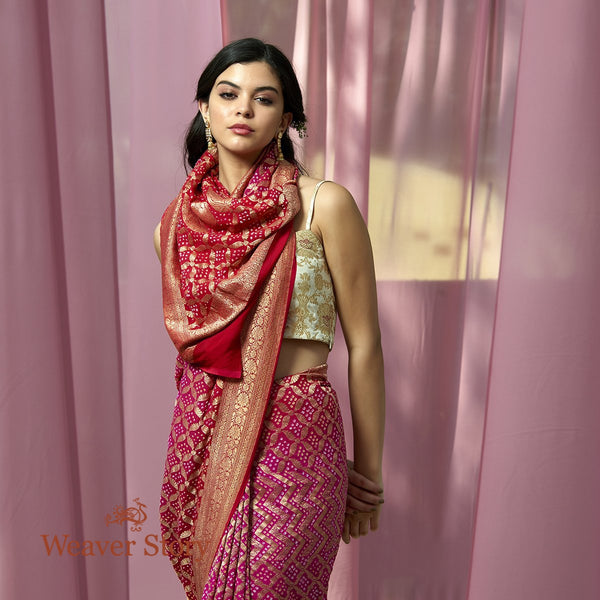Handwoven Pink and Red Ombre Dyed Banarasi Bandhej Saree