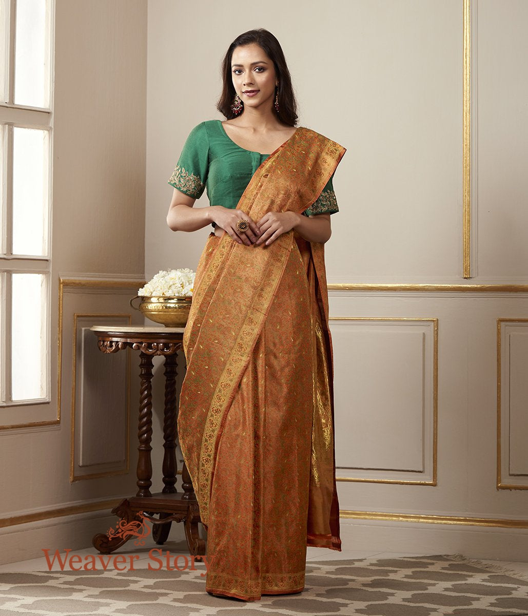Handwoven Mustard Tanchoi Jamawar Saree with Zari Woven Paisleys