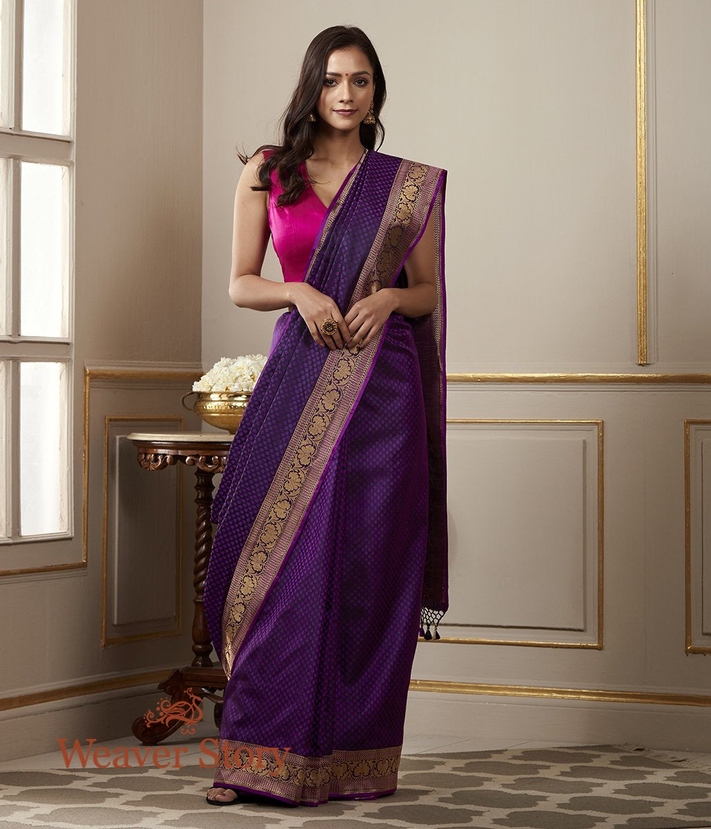 Handwoven Purple and Black Dual Tone Banarasi Tanchoi Saree with Floral Border