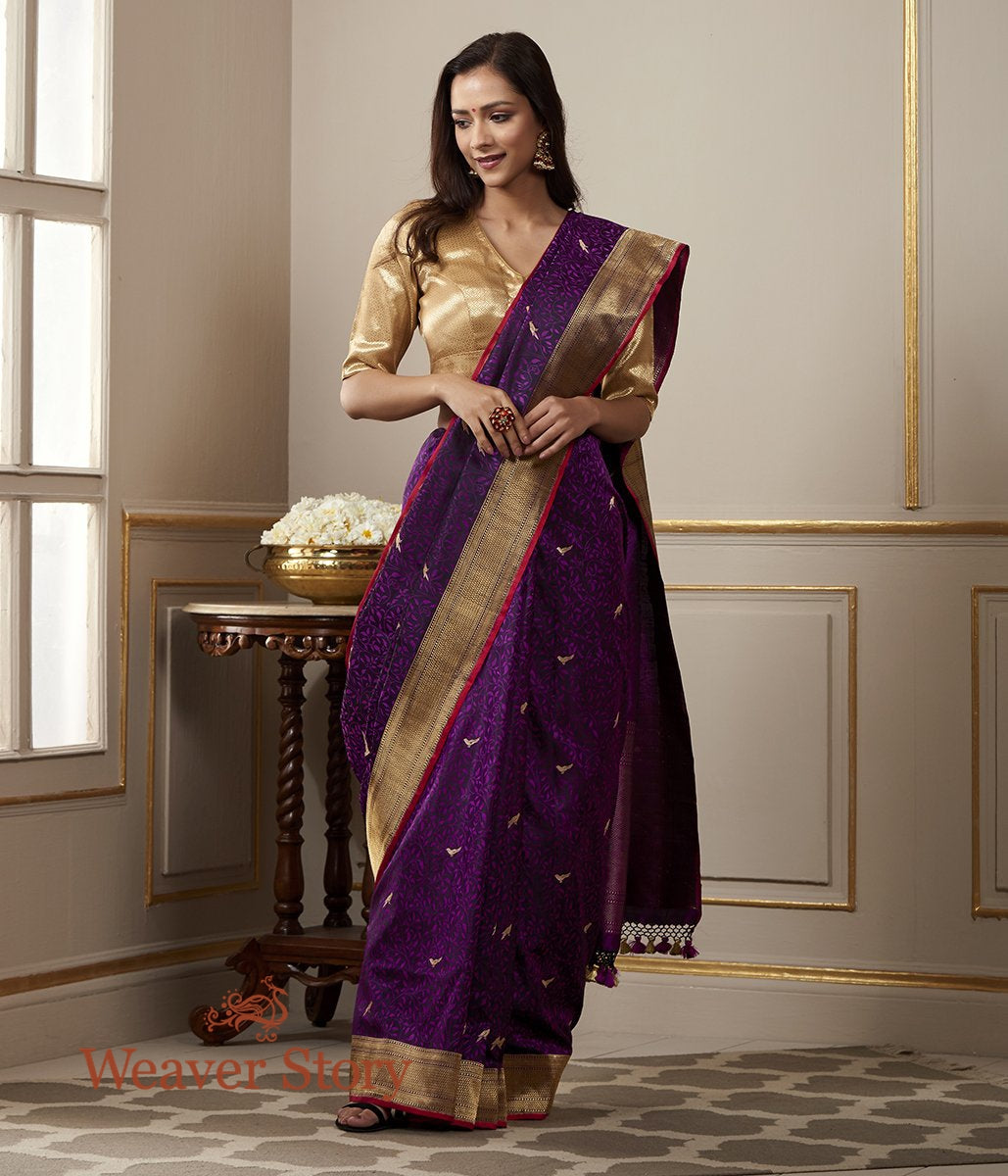 Handwoven Purple and Pink Tanchoi Saree with Woven Bird Motifs