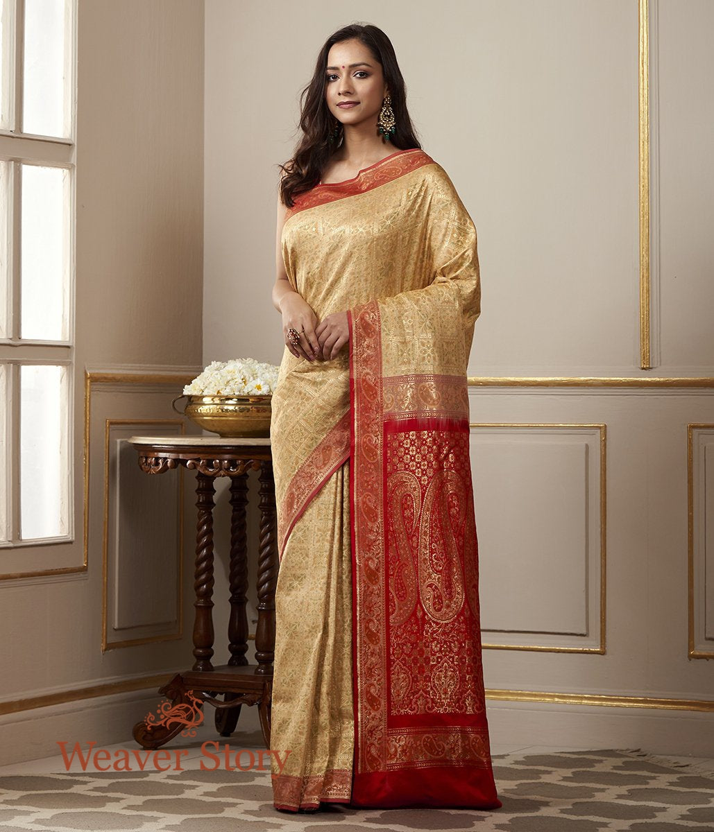 Handwoven Beige and Red Katan Silk Gharchola Saree