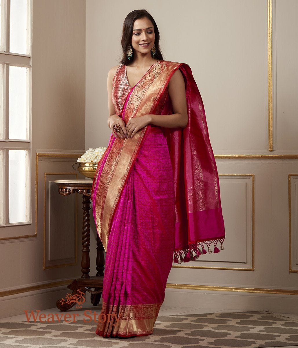 Handwoven Hot Pink Banarasi Tanchoi Saree with Gold Zari Border