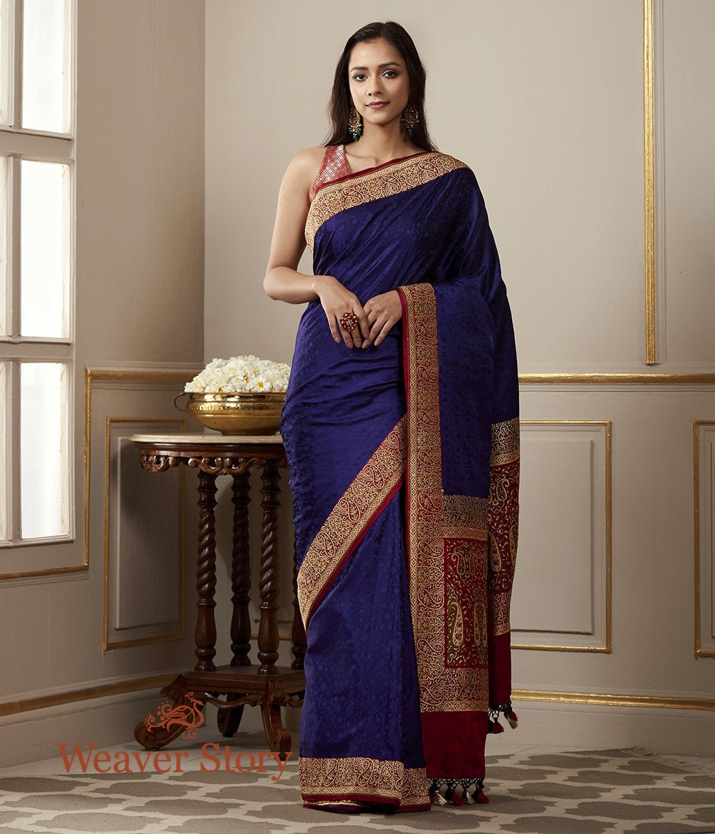 Handwoven Blue and Red Banarasi Valakalam Saree with Tanchoi Weave