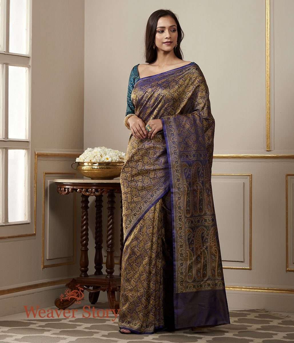 Handwoven Blue and Purple Dual Tone Jamawar Tanchoi Saree with Paisleys