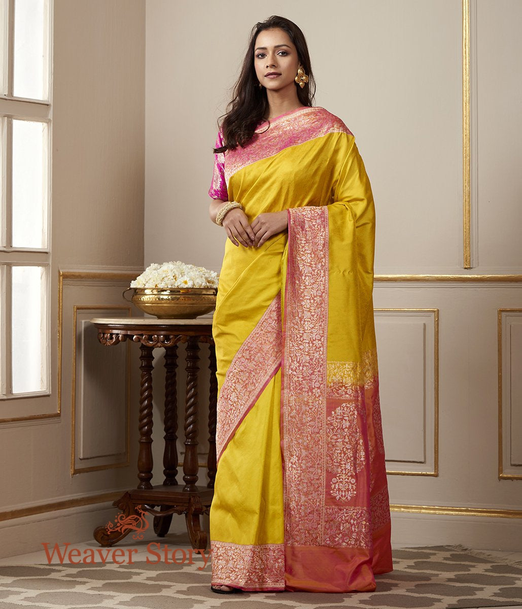 Handwoven Yellow Banarasi Tanchoi Saree with Kadhwa Border in Pink with Woven Leaf Motifs