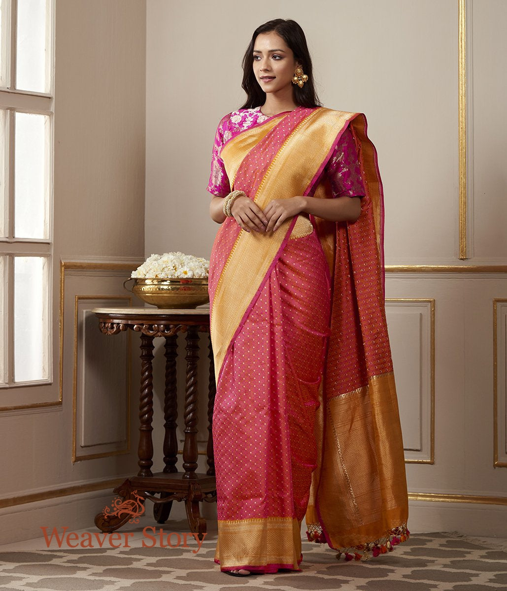Handwoven Pink and Orange Banarasi Tanchoi Saree with Zari Booti