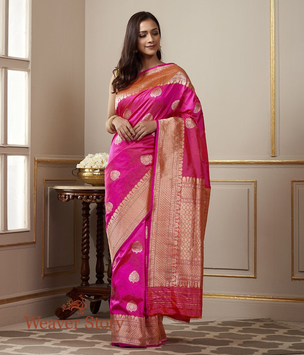 Handwoven Hot Pink Banarasi Tanchoi Saree with Kadhwa Booti