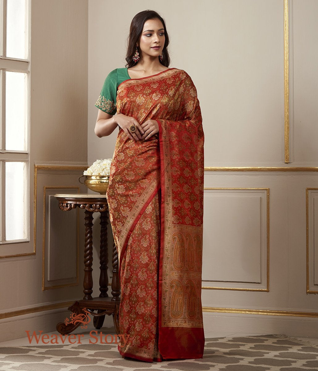 Handwoven Rust and Red Tanchoi Jamawar Saree with Woven Paisleys