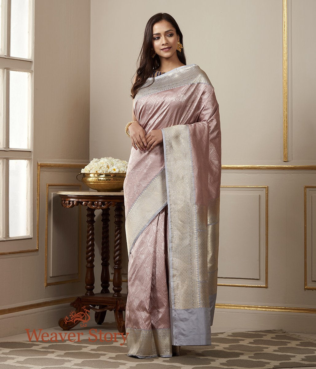Handwoven Soft Pink Banarasi Tanchoi Saree with Kadhwa Border in Grey and Gold