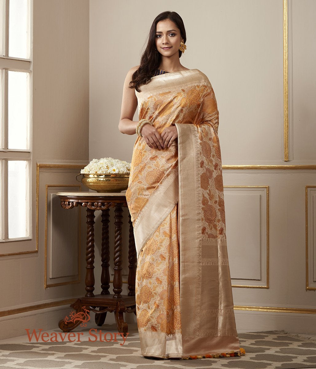 Handwoven Beige and Orange Banarasi Tanchui Saree with Floral Motifs