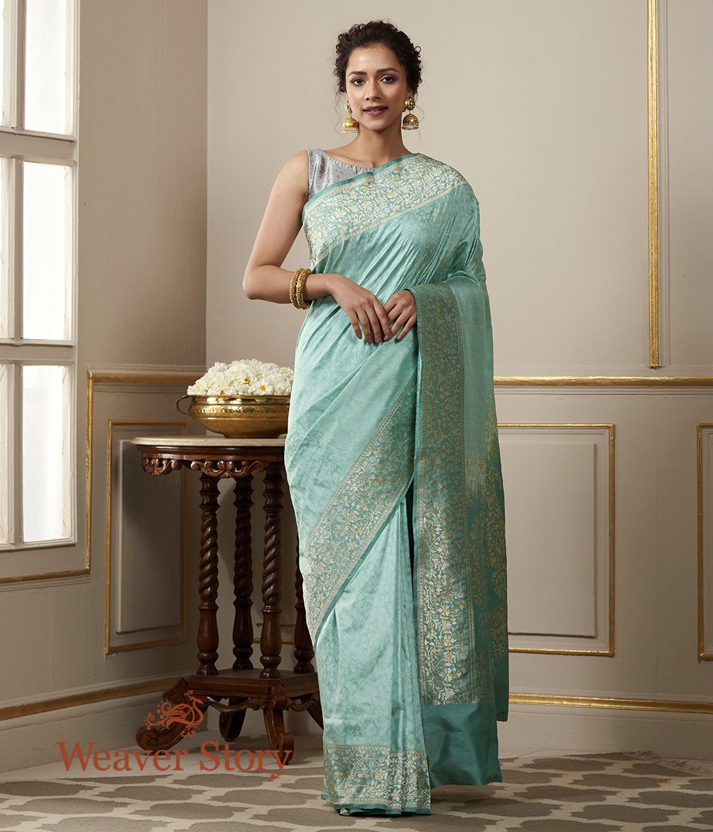 Handwoven Sea Green Banarasi Tanchoi Saree with Kadhwa Border with Woven Leaf Motifs