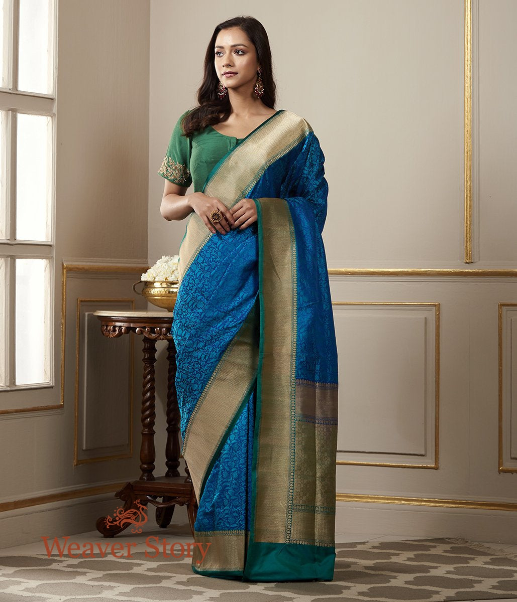 Handwoven Blue Banarasi Tanchoi Saree with Gold Zari Border