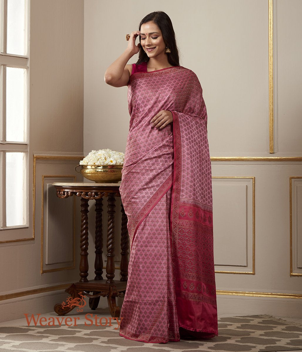 Handwoven Sanganer Booti Tanchoi in Shades of Pink