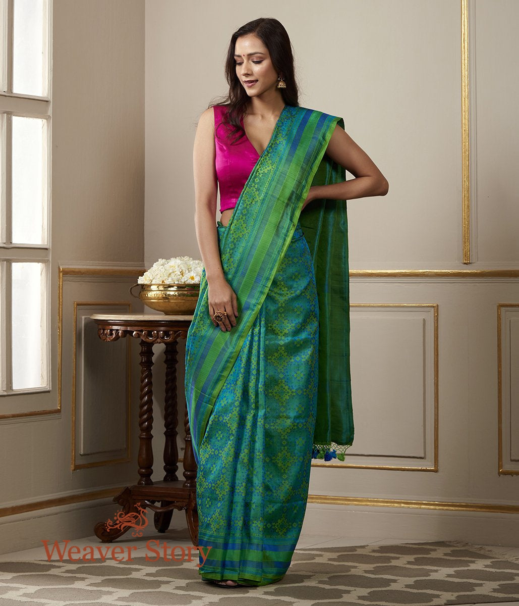 Handwoven Banarasi Tanchoi Saree in Shades of Green