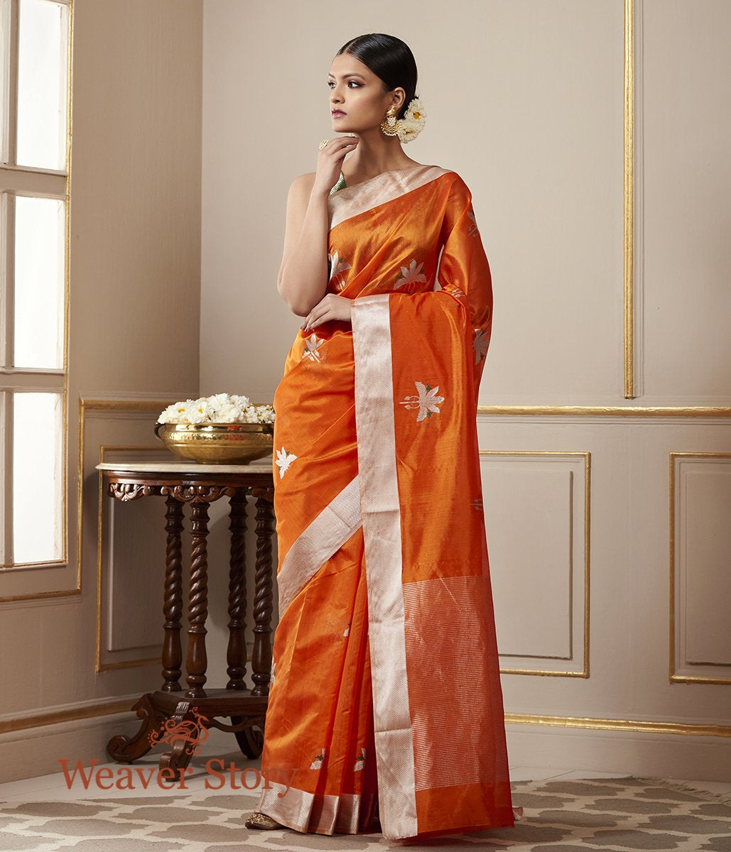 Handwoven Orange Chanderi Silk Saree with Birds on a Tree