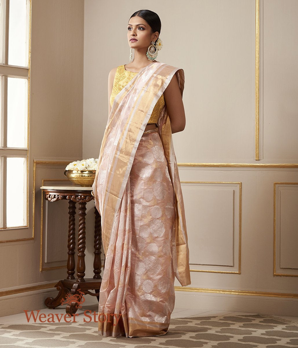 Handwoven Soft Pink Chanderi Silk Saree with Gold and Silver Zari Floral Jaal