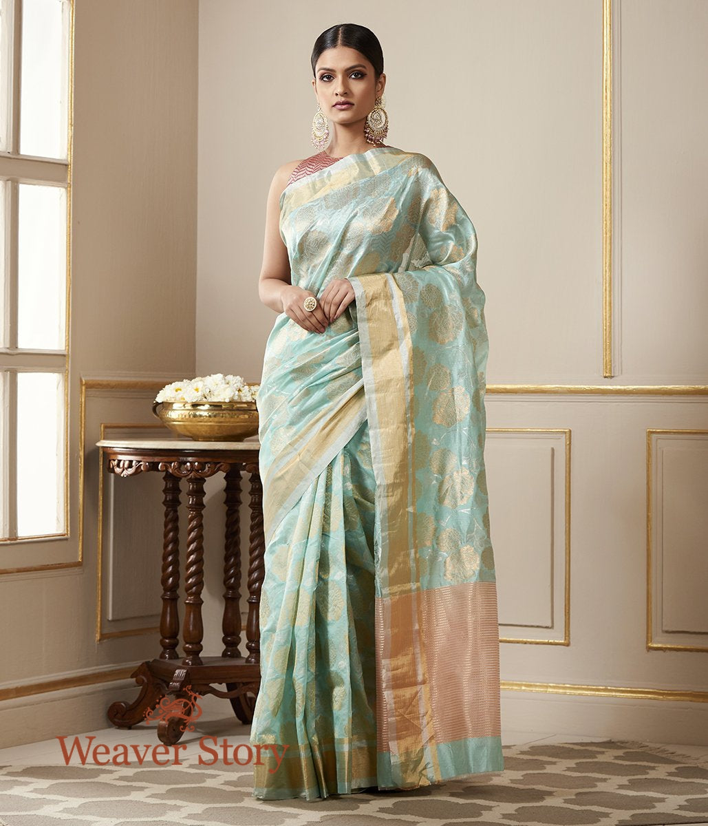 Handwoven Light Blue Chanderi Silk Saree with Gold and Silver Zari Floral Jaal