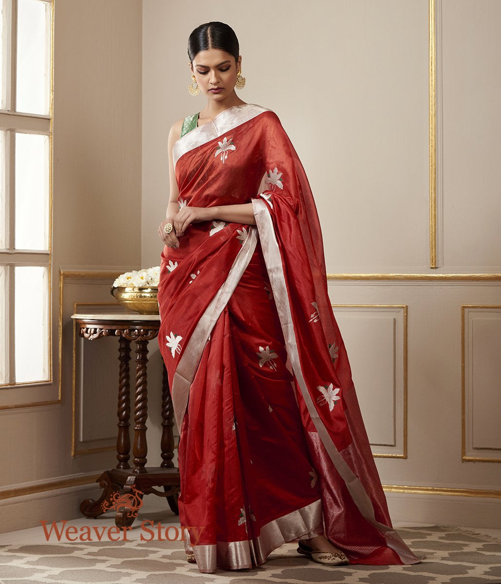 Handwoven Brick Red Chanderi Silk Saree with Birds on a Tree