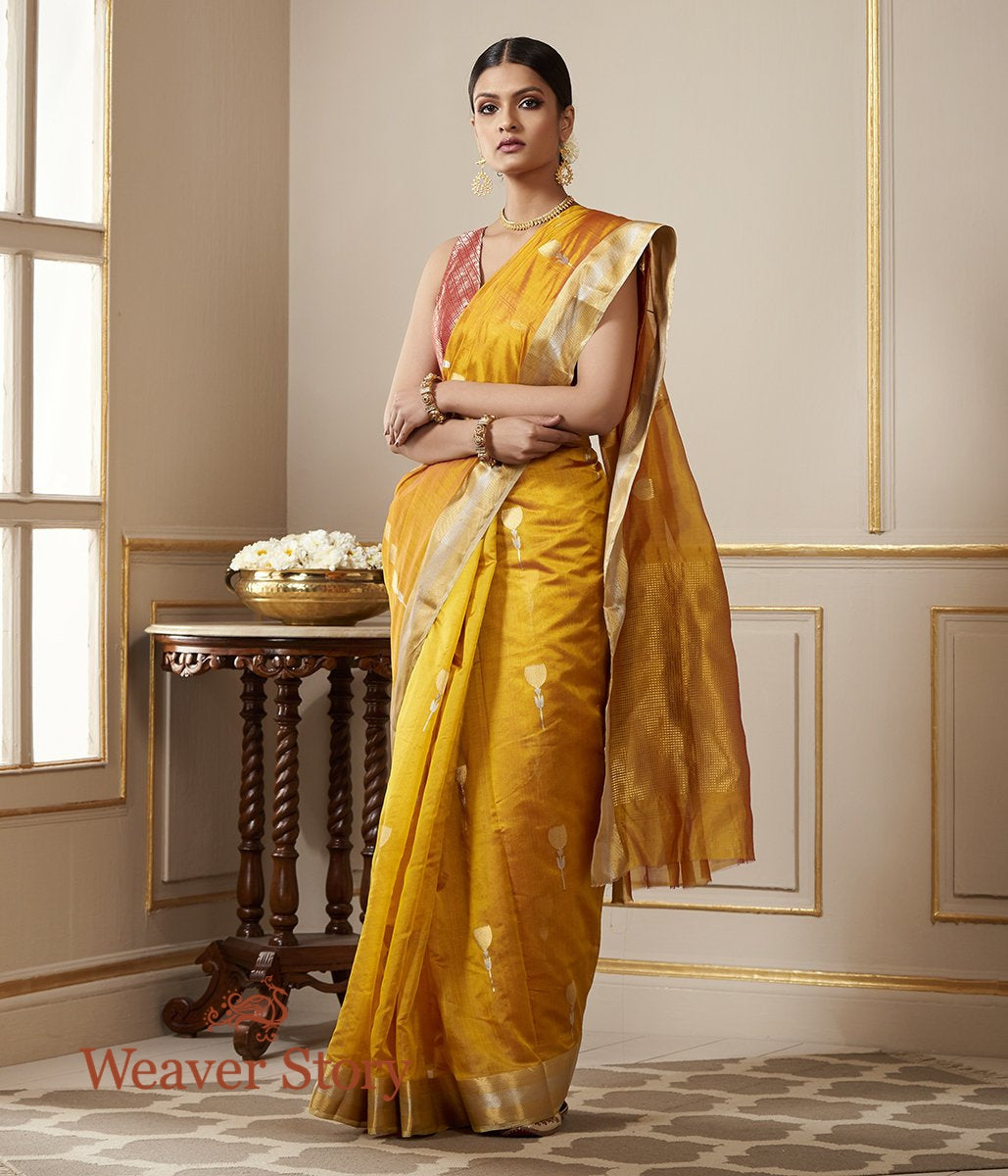 Handwoven Mustard Chanderi Silk Saree with Gold Zari Border