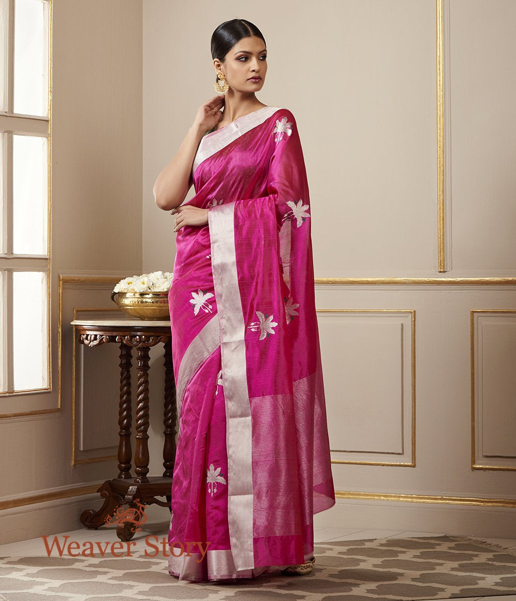Handwoven Pink Chanderi Silk Saree with Birds on a Tree