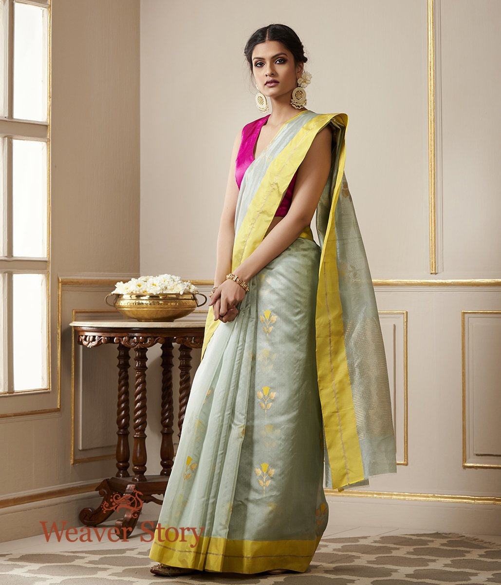 Handwoven Duck Egg Blue Chanderi Silk Saree with Yellow Mushroo Borders